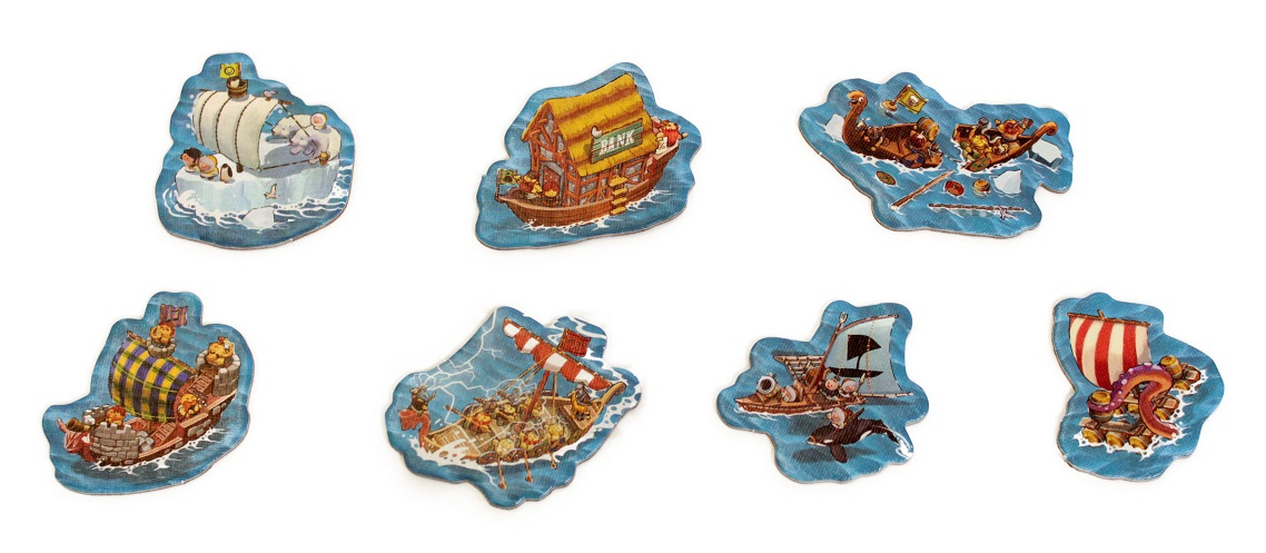 closeup of seven game board tokens with each containing an illustration of a different ship or vessel from the Empires of the North