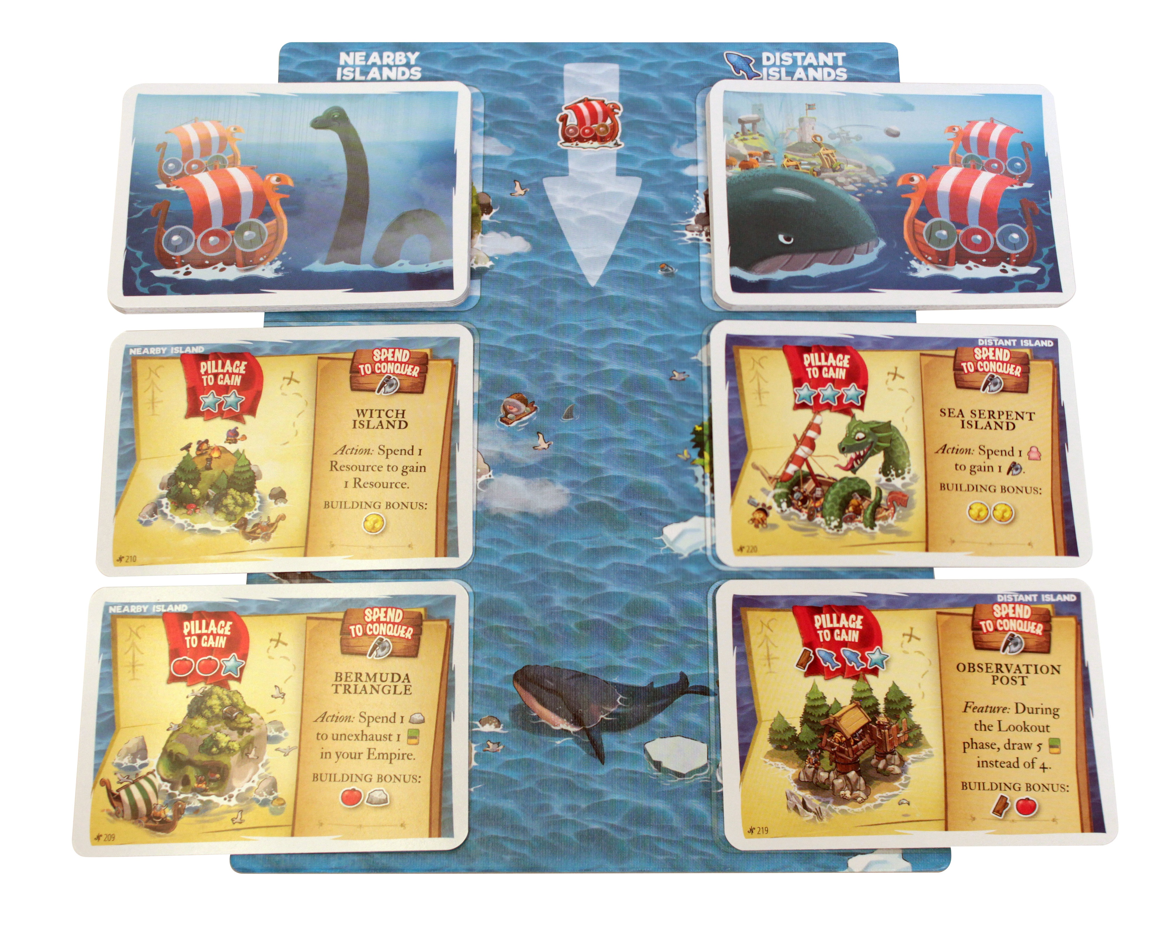 player game board to mark islands locations within the game, with six game cards containing the names of different islands within the game