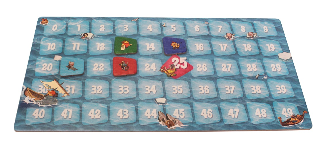game board with the numbers from zero to forty-nine with various tokens and game pieces placed upon it