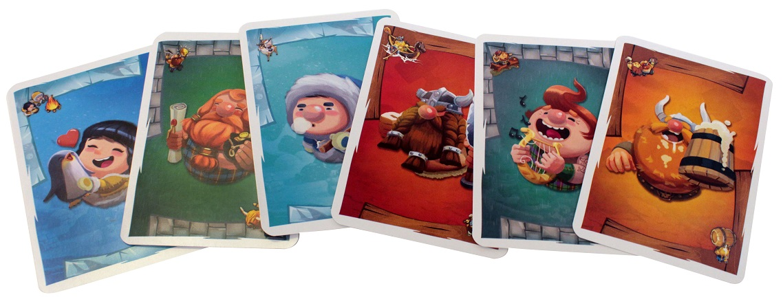 six colorful game cards, each depicting a different character or clan from the Empires of the North