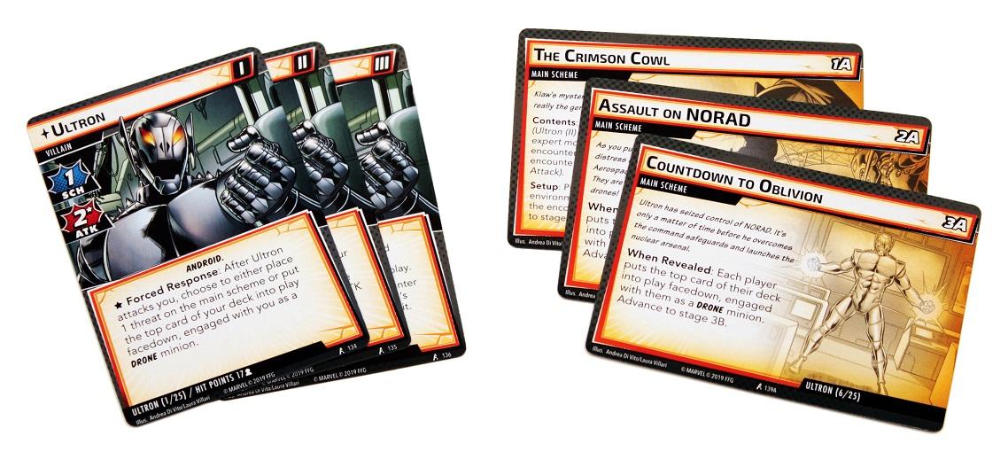 Three villain cards featuring Ultron beside 3 villain scheme cards for Ultron
