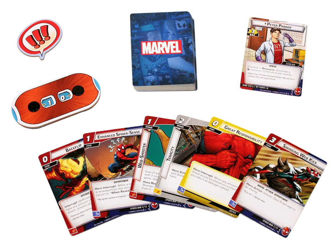 A player setup with a deck of cards, hero card, hit point dial, spread of cards, and a first player token