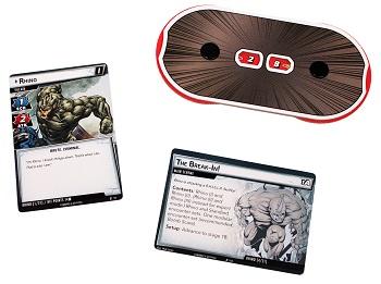 A Rhino Villain card, scheme card, and the villain hit point dial