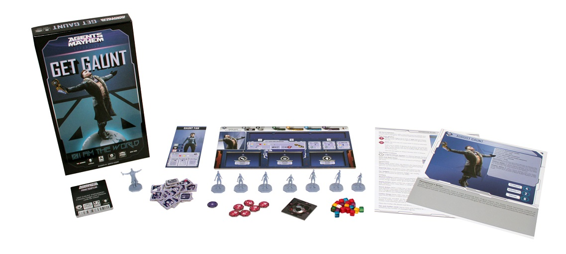 Agents of Mayhem: Get Gaunt game components, including board game box, game pieces, minis, cards, and rulebook