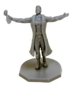 gray plastic game piece miniature, man in trenchcoat with his arms spread