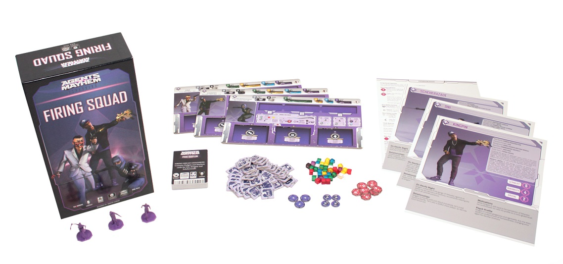 Agents of Mayhem: Firing Squad game components, including board game box, game pieces, miniatures, and character guides