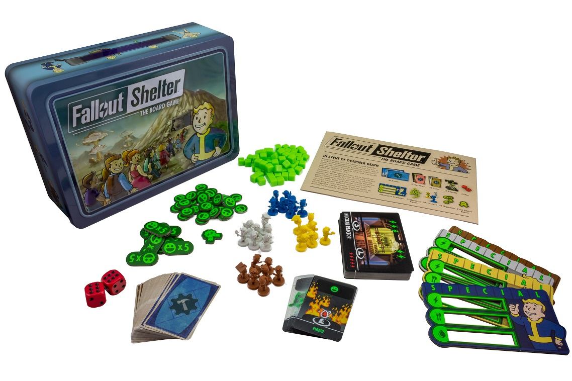 Fallout Shelter game components, including game box, minis, game pieces, game boards, and rulebook