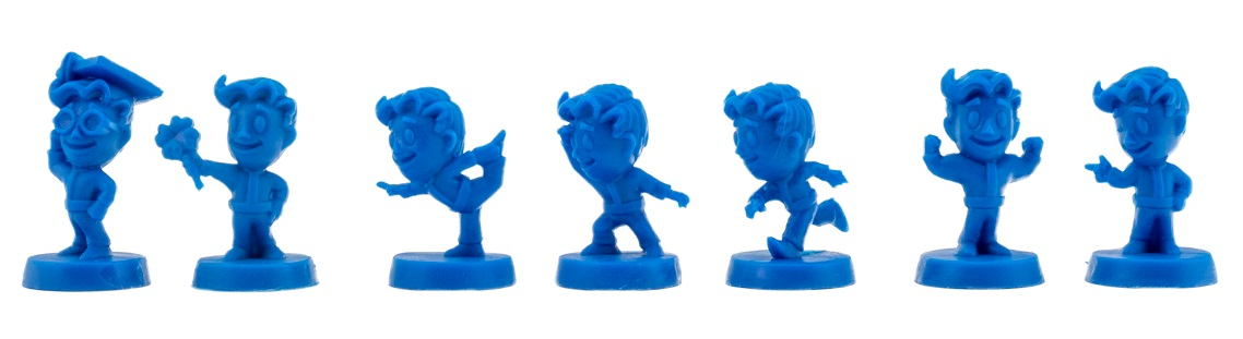 small, blue plastic figures arranged in a horizontal line