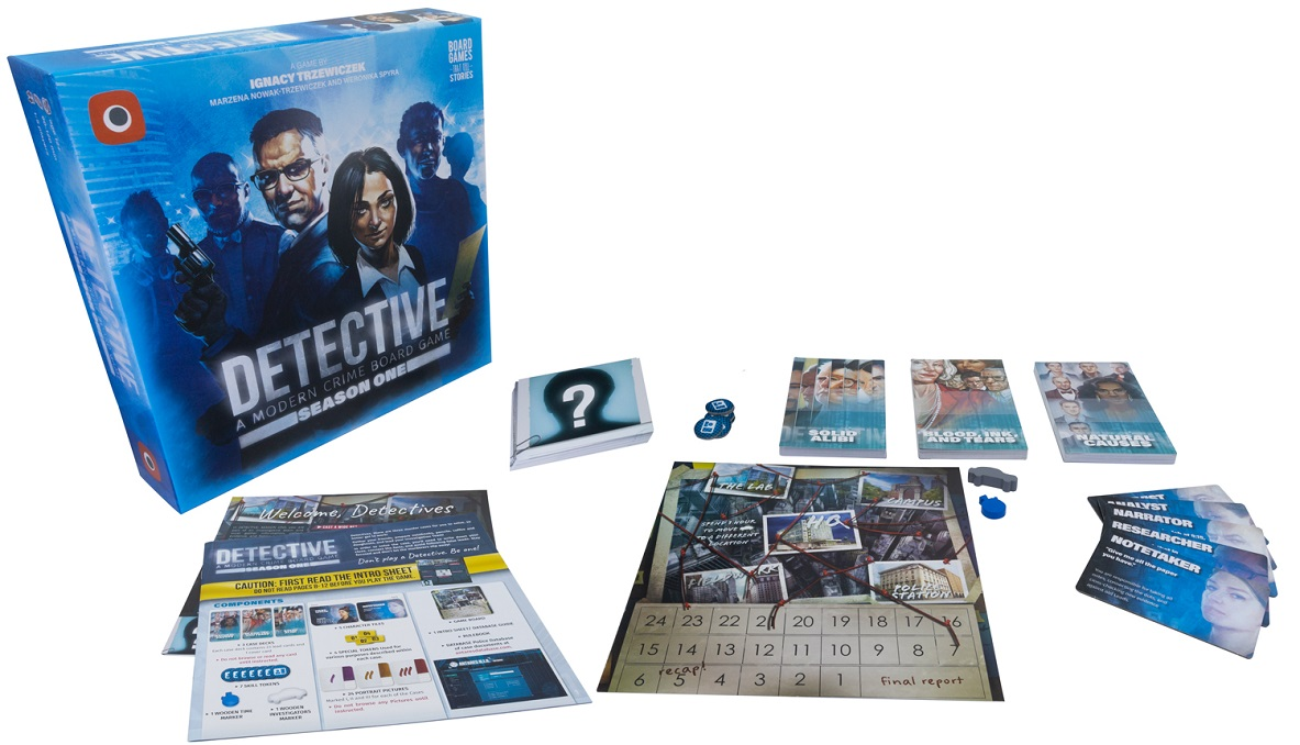 Detective Season One components, including game packaging, cards, game pieces, and rulebook