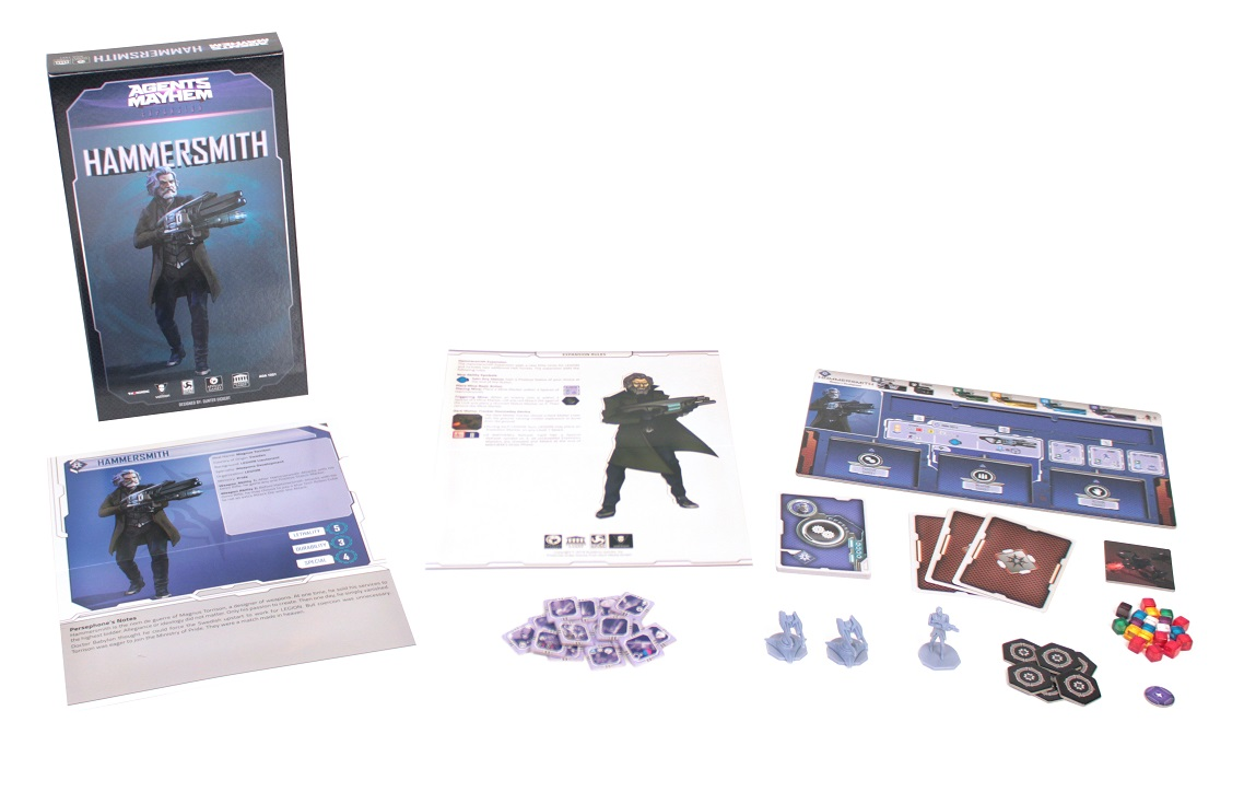 Agents of Mayhem: Hammersmith game components, including board game box, game pieces, minis, cards, and rulebook