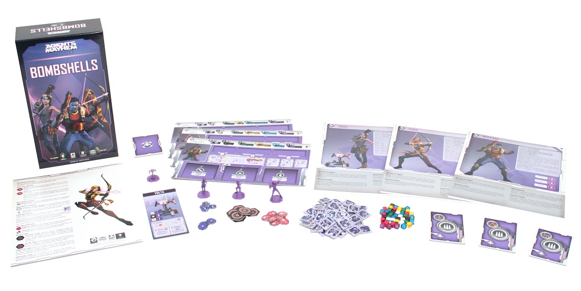 Agents of Mayhem: Bombshells game components, including board game box, game pieces, minis, cards, and rulebook