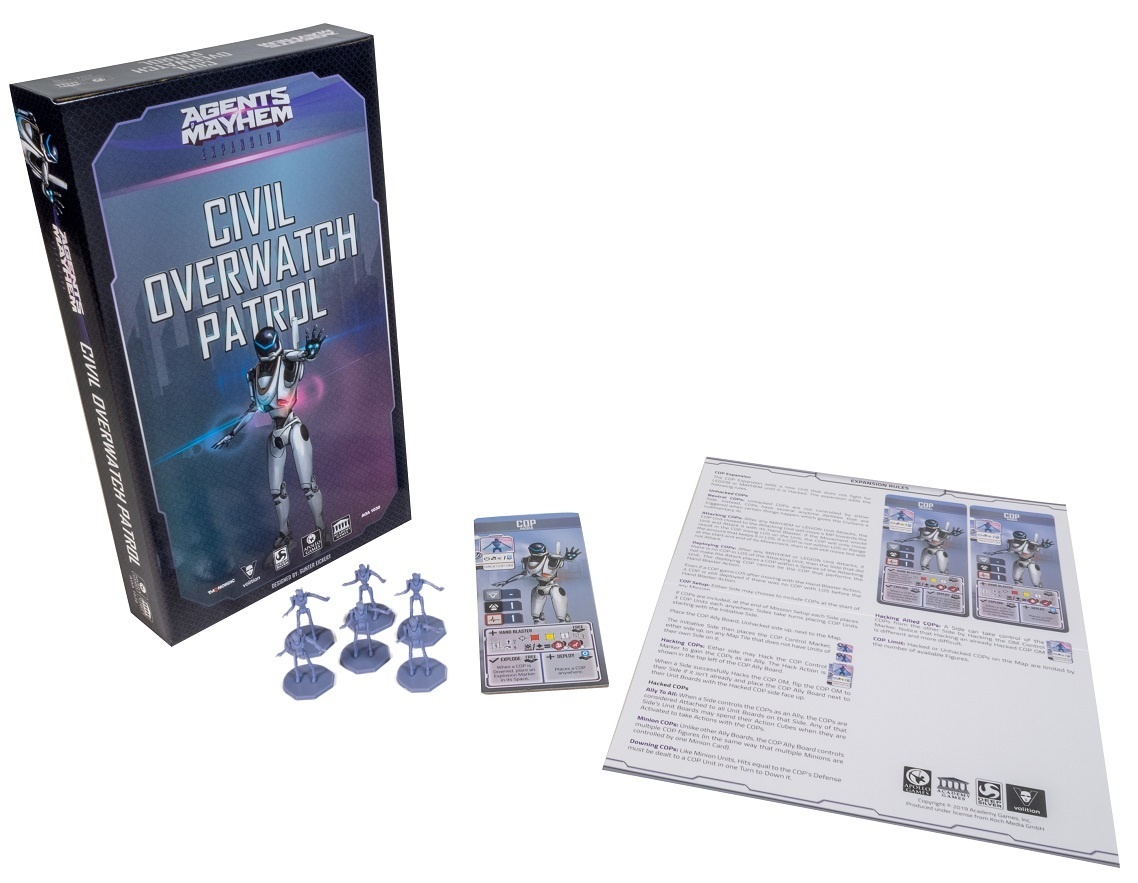 Agents of Mayhem: Civil Overwatch Patrol game components, including board game box, game pieces, minis, cards, and rulebook