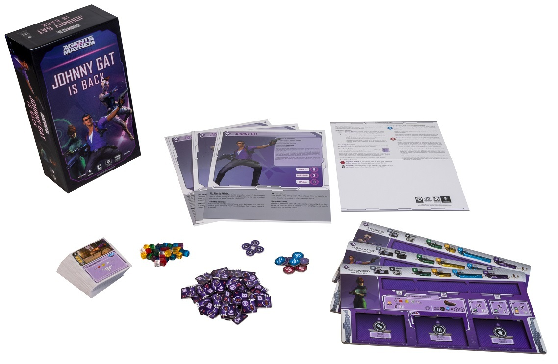 Agents of Mayhem: Johnny Gat is Back game components, including board game box, game pieces, minis, cards, and rulebook
