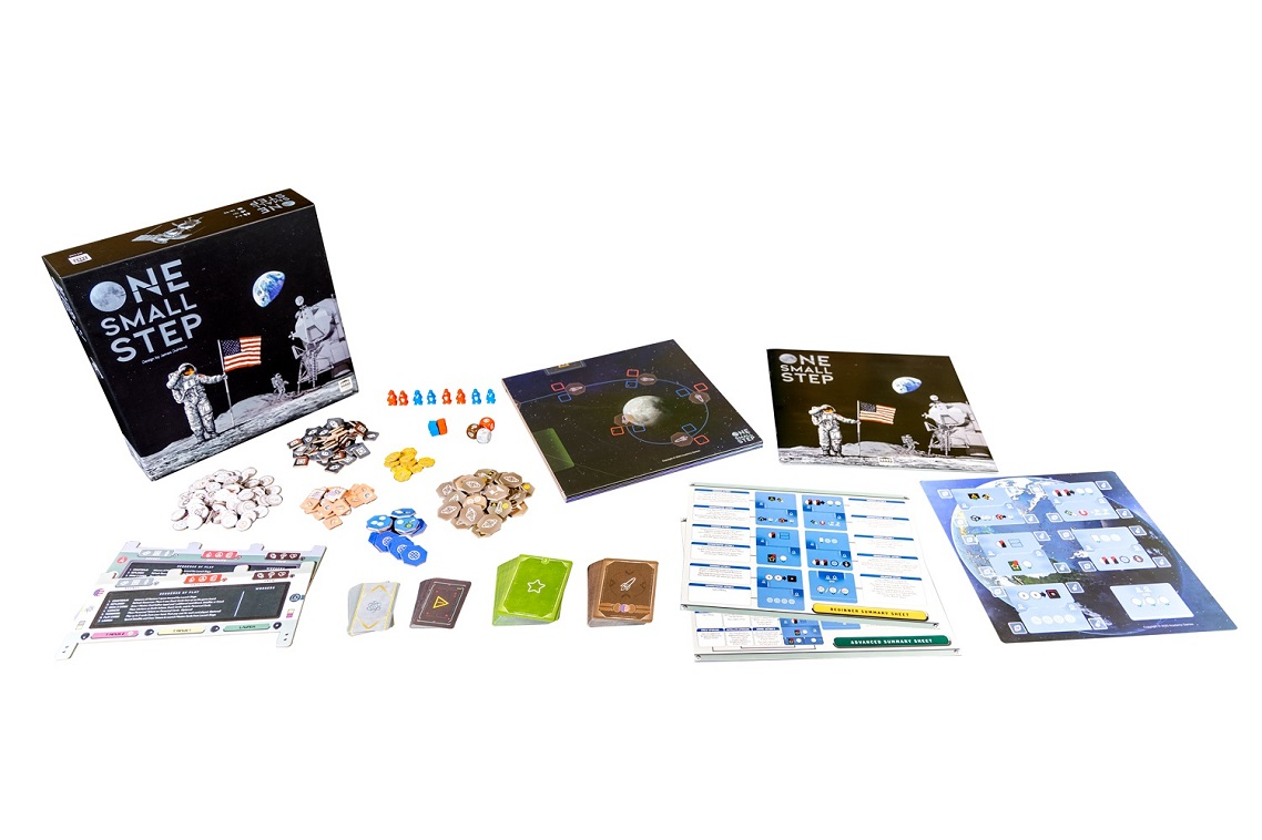 One Small Step components, including game packaging, cards, game pieces, and rulebook