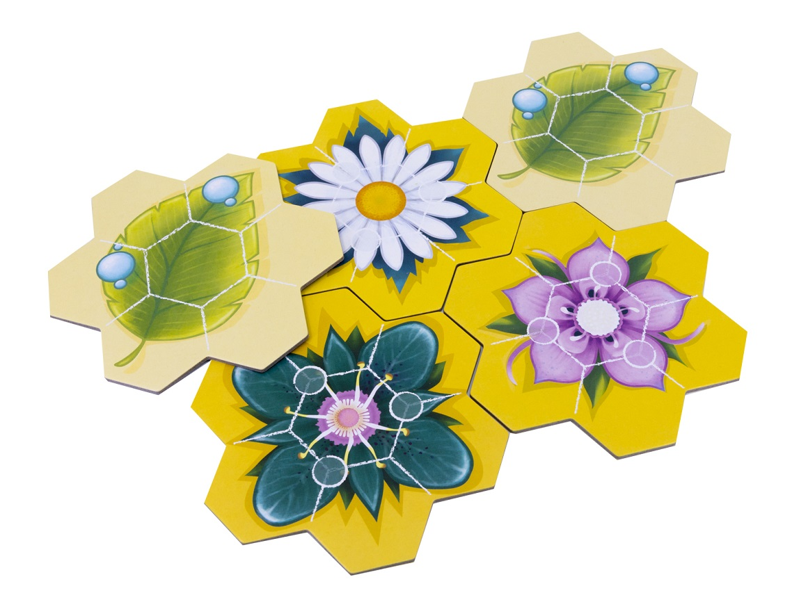 A spread of carboard game board tiles with images of flowers and leaves