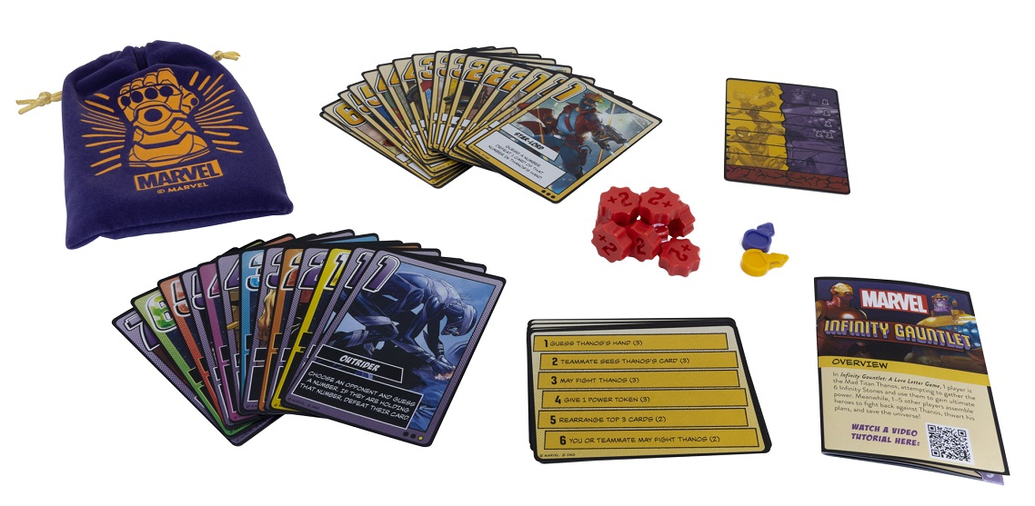 Infinity Guantlet a Love Letter Game components, including game packaging, cards, game pieces, and rulebook