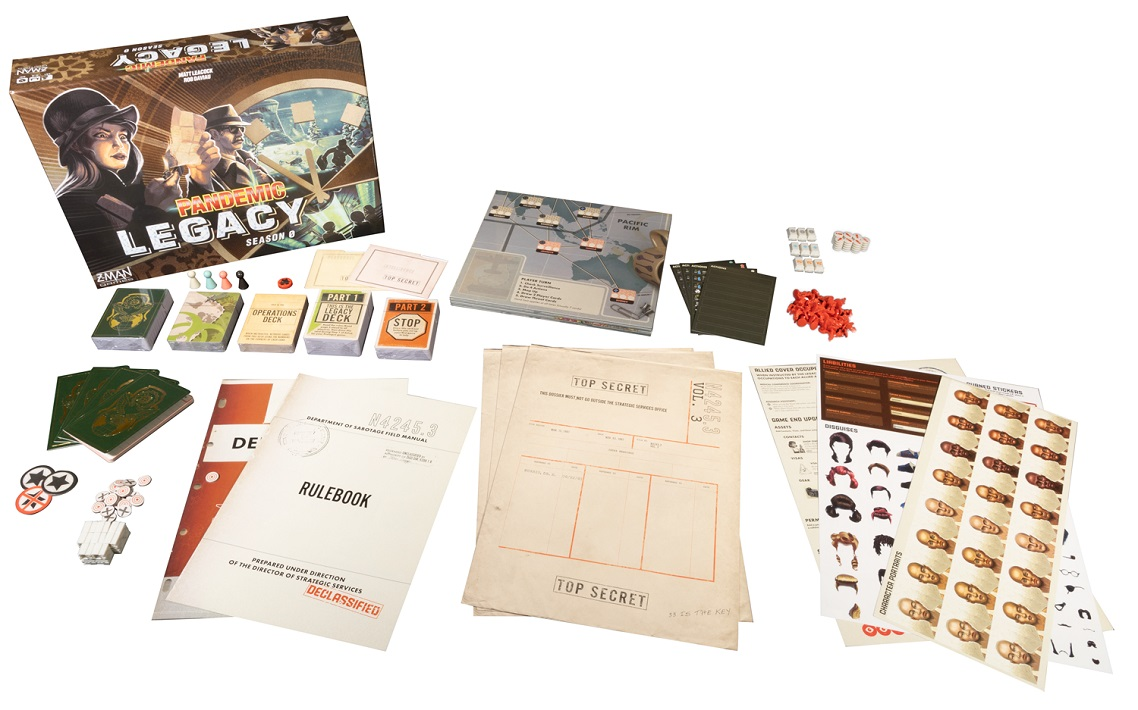 Pandemic Legacy Season 0 components, including game packaging, cards, game pieces, and rulebook