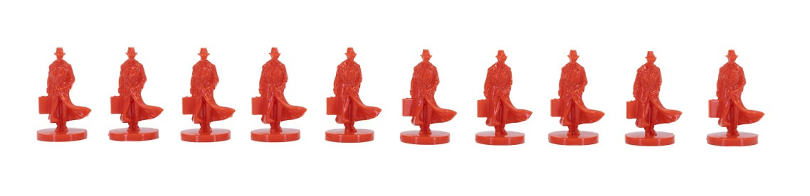 A row of small red figures resembling secret agents