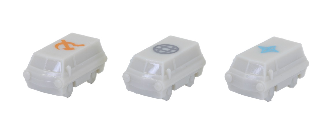 A row of small gray figures resembling vans marked with different symbols