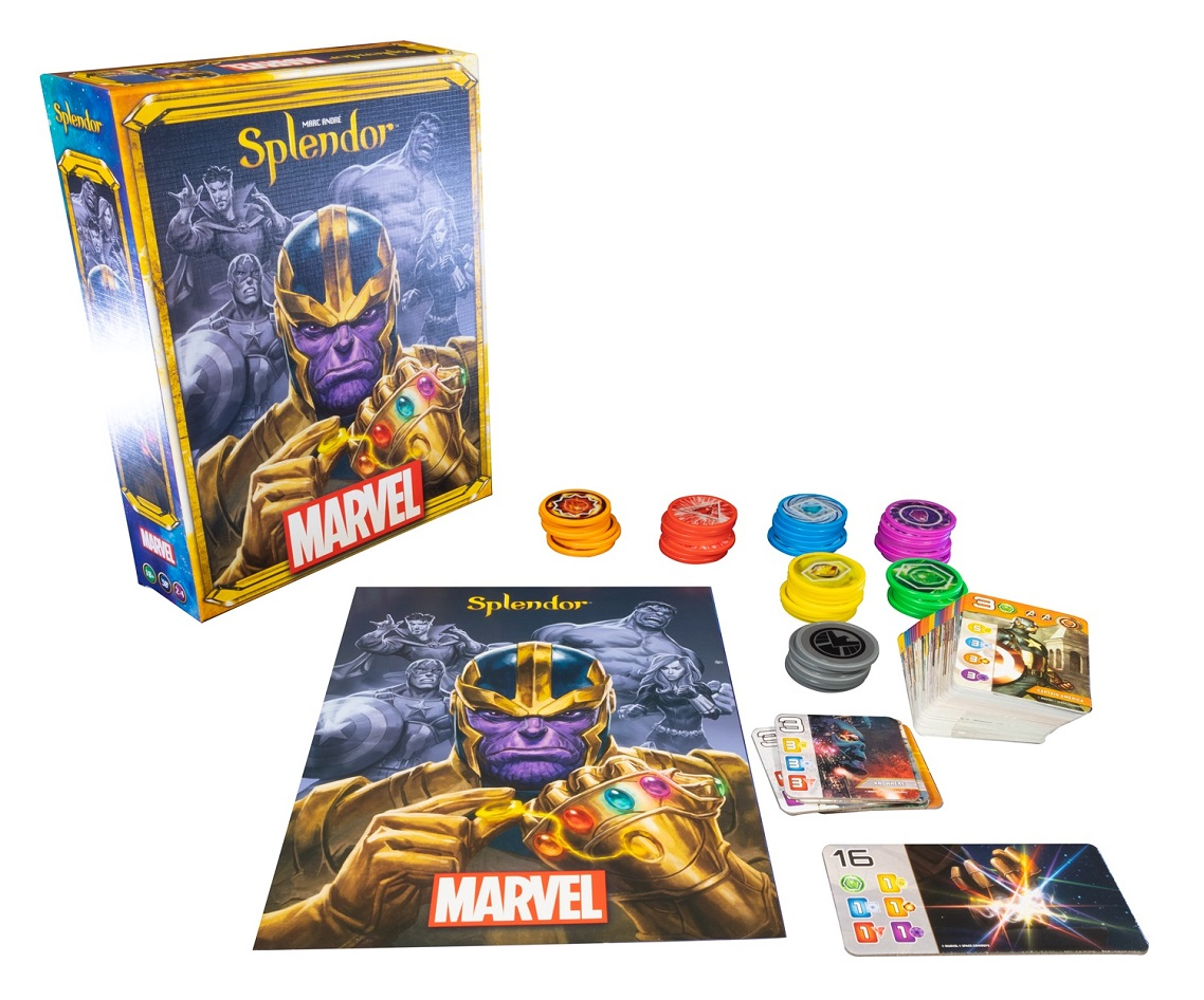 Marvel Splendor components, including game packaging, cards, game pieces, and rulebook