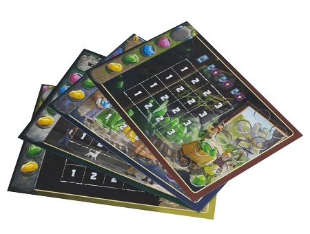 A spread of the players boards used in the game