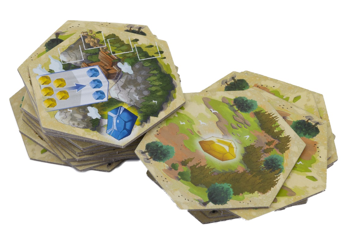 Two stacks of hexagonal tiles that make up the game board