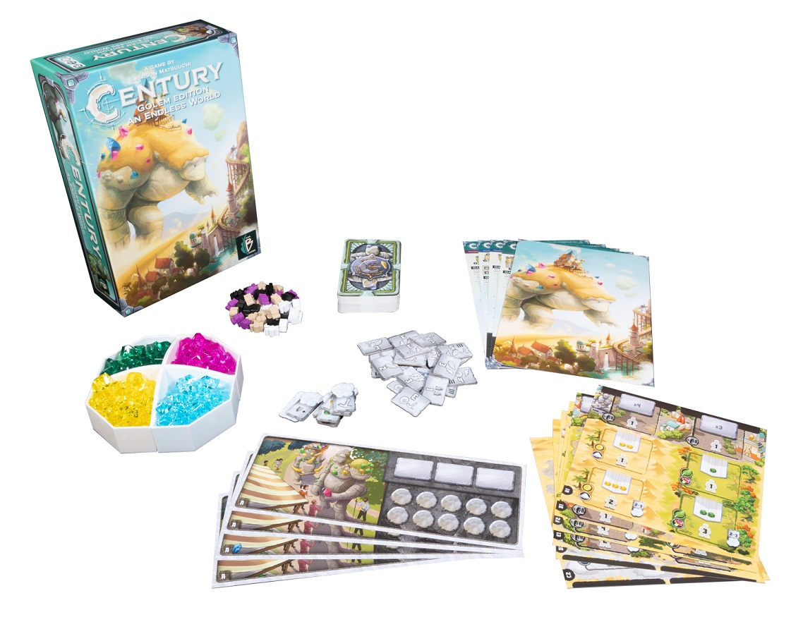 Century Golem Edition An Endless World components, including game packaging, cards, game pieces, and rulebook