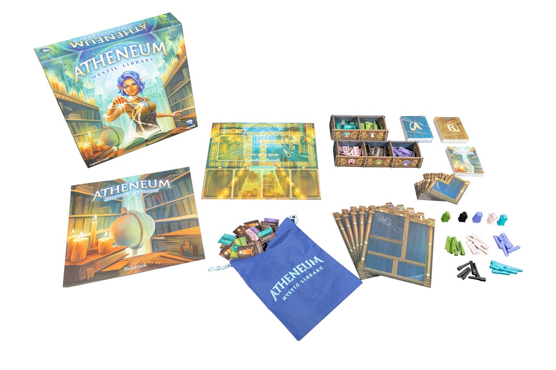 Century Golem Edition Eastern Mountains components, including game packaging, cards, game pieces, and rulebook
