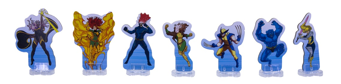 A row of seven carboard standees of x-men characters