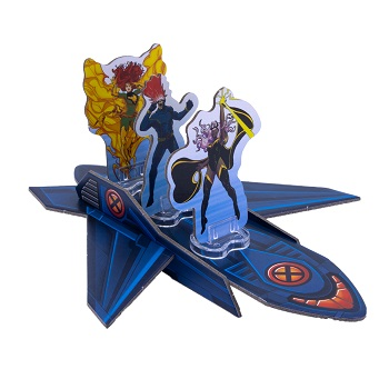 A closeup of a cardboard jet standee with x-men figures standing on it
