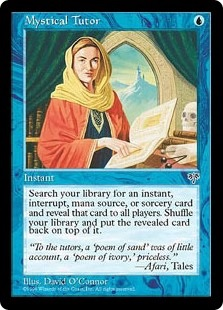An image of the Magic card Mystical Tutor from the Mirage expansion. A woman in a yellow head scarf faces the viewer holding an open book.