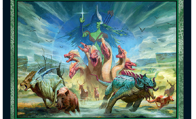 The art for Nylea's Intervention, featuring the god Nylea imposed over a stampede of Therosian creatures.