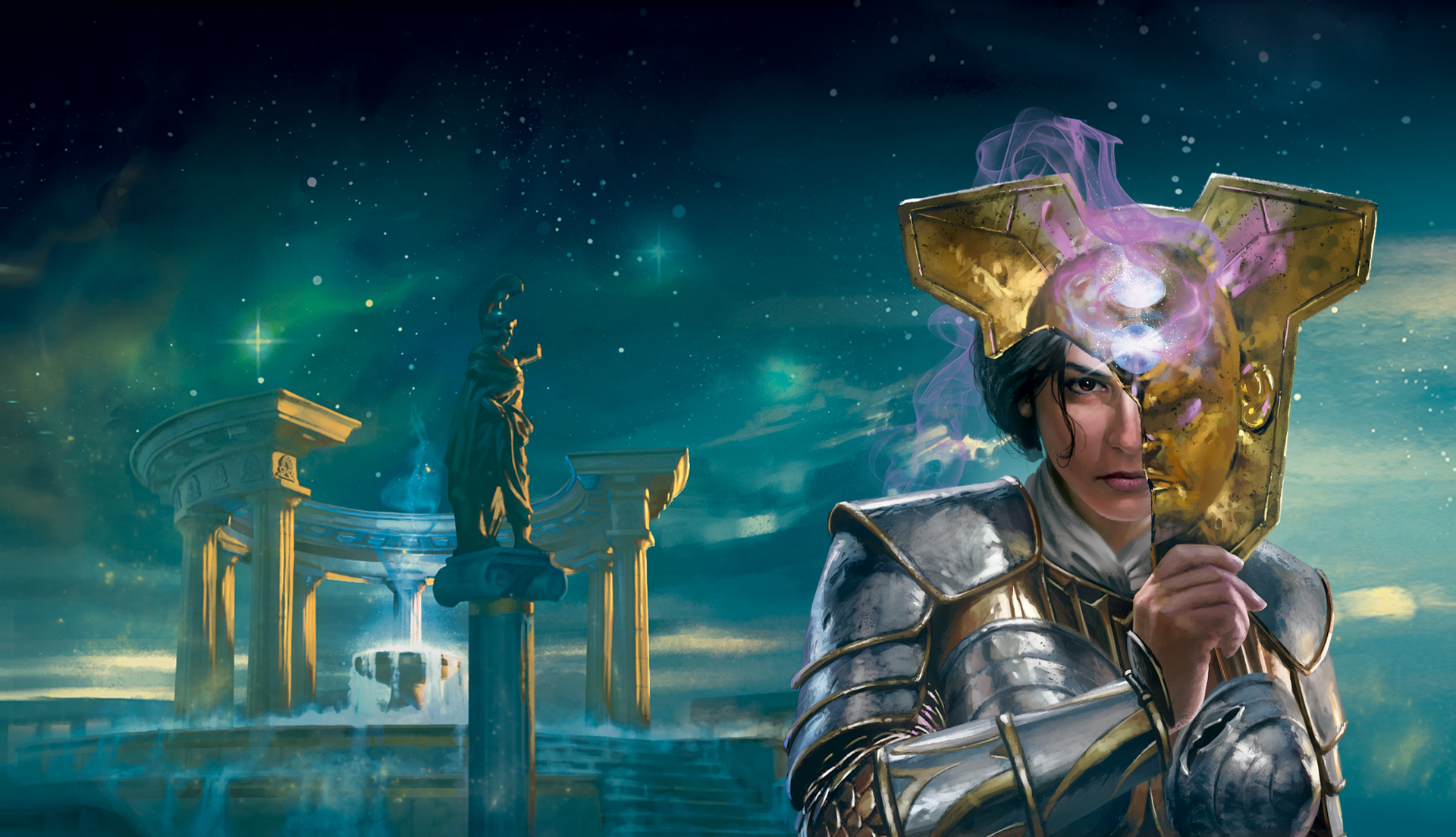 Key art from Theros Beyond Death featuring Elspeth holding an ornat golden death mask in front of her face.