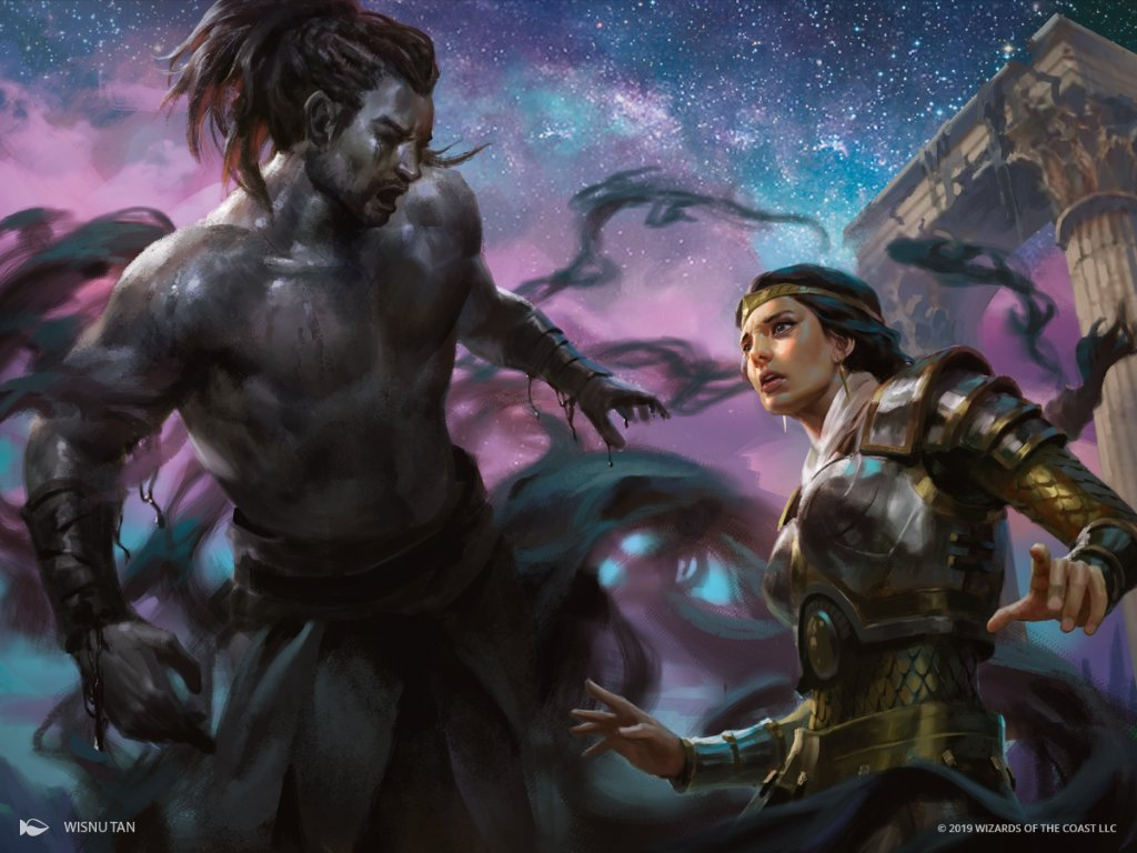 Art from the Magic card Agonizing Remorse. A shadowy Daxos floats before a distressed Elspeth.
