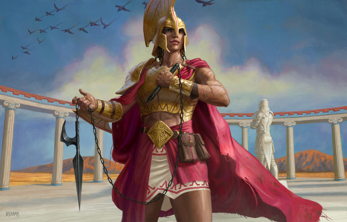 Art of the Magic cardTarnika, Akroan Veteran. A formidable-looking woman in gold, red, and white armor holds stands before the statue of Kytheon.