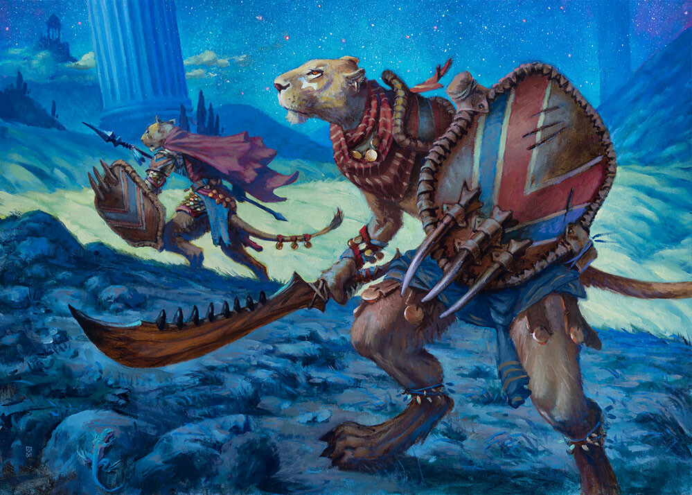 Art for the Magic card Leonin of the Lost Pride. Two humanoid cat warriors stalks through a starry, night landscape.