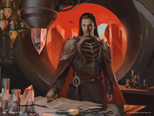 Art of Yawgmoth, a man with long, dark hair standing at a lab bench
