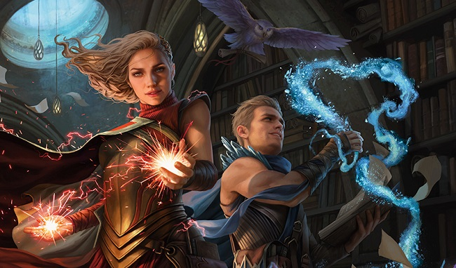 Twins, a blonde man and woman, wielding magic in an old library