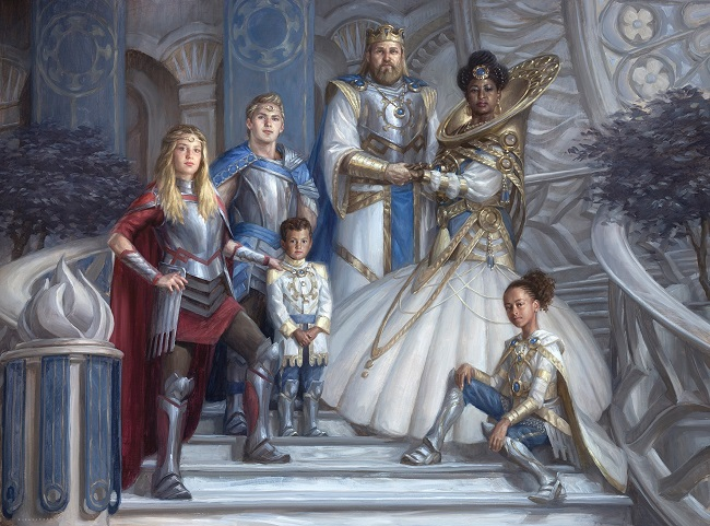 A royal family portrait featuring a king, a queen, and their four children