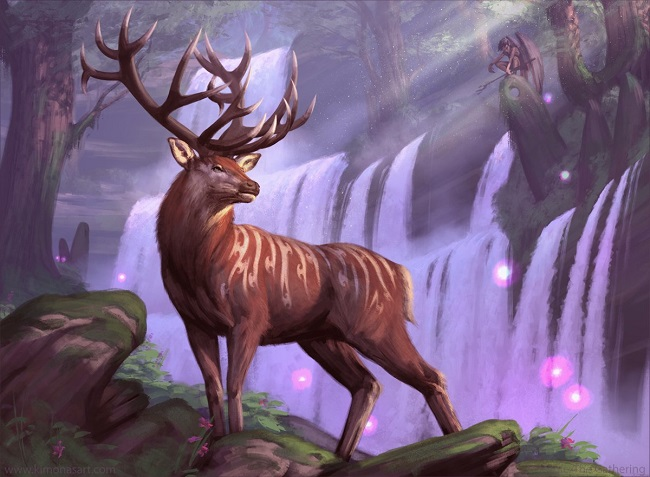 A stag in an enchanted wilderness being watched by a winged figure